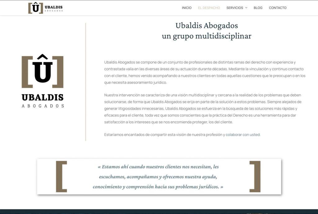 Diseño web ubaldis.net